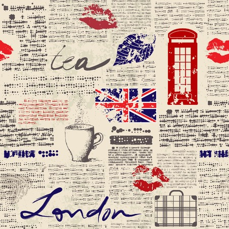 teatime: Seamless background pattern. Newspaper London with grunge eleme