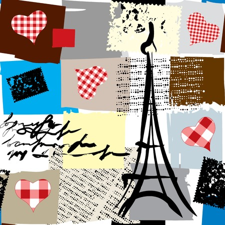 Seamless background pattern. Collage Paris in scrapbook style. 矢量图像