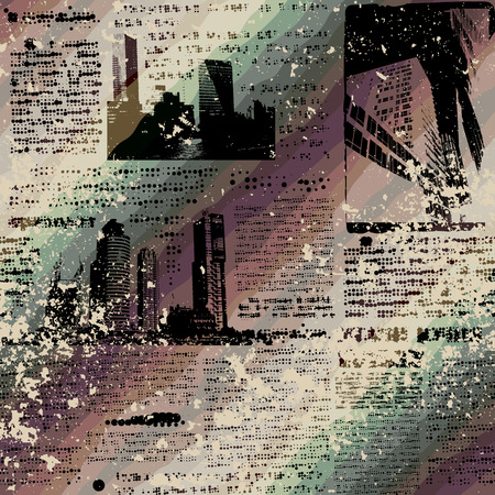 unreadable: Seamless background pattern. Grunge newspaper, text is rasterized, unreadable.