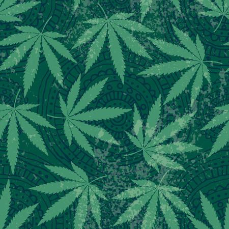 Naadloze achtergrond patroon van hennep bladeren en grunge effect Stock Illustratie