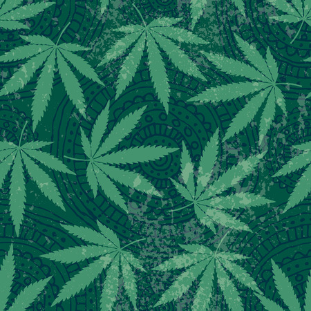 Seamless background pattern from hemp leaves and grunge effect