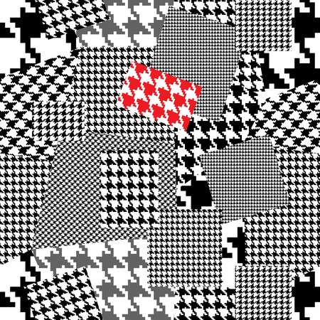 houndstooth: Patchwork with houndstooth ornament. Seamless background pattern. Will tile endlessly.