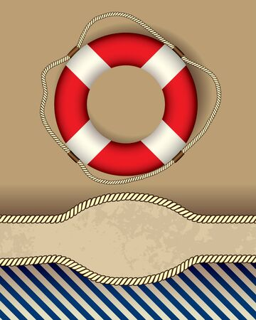 lifeline: Vertical bordered background. Nautical style with the lifeline