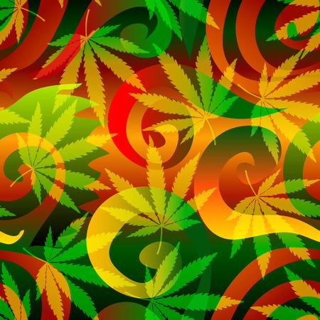 Seamless background pattern. Marijuana background with leaves.  イラスト・ベクター素材