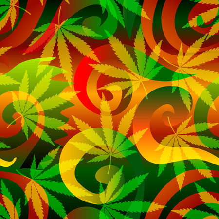 Seamless background pattern. Marijuana background with leaves. Ilustração