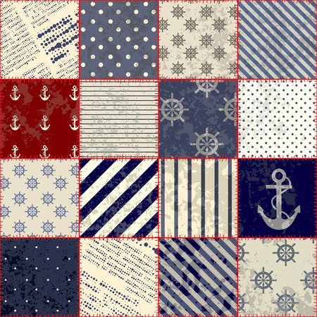 Seamless background pattern. Nautical patchwork with grunge effect.