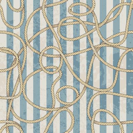 Seamless background pattern. Ropes pattern in marine style Ilustração
