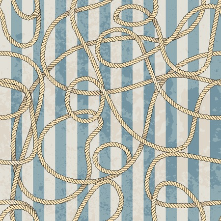 Seamless background pattern. Ropes pattern in marine style Vettoriali