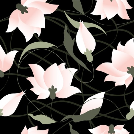 lilly: Seamless background pattern. Lotus flower on black background.