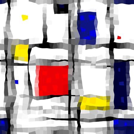 mondrian: Seamless background pattern, geometric retro style on wavy.