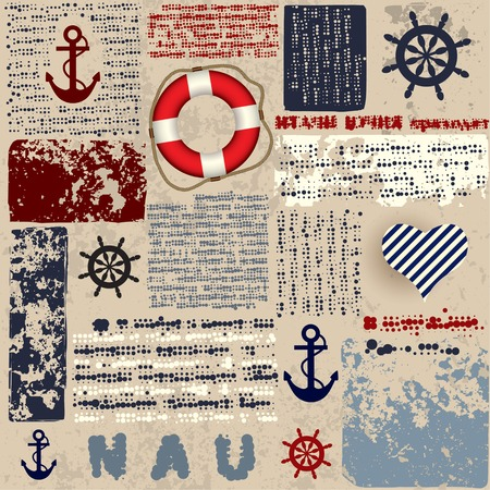 Seamless background pattern. Will tile endlessly. Grunge background in nautical style