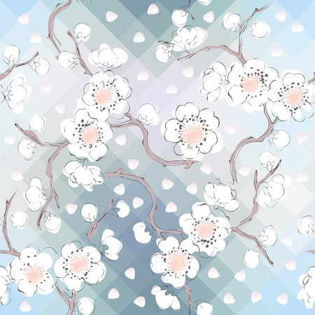 endlessly: Cherry blossom, white petals are falling. Seamless background pattern. Will tile endlessly. Illustration
