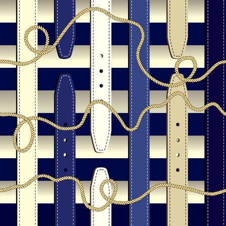 Naadloos patroon als achtergrond. Modieus patroon in nautische stijl Stock Illustratie