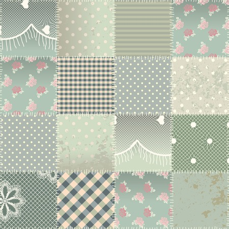 patchwork quilt: Seamless background pattern. Will tile endlessly. The  patchwork quilt in shabby chic style with grunge elements. Illustration