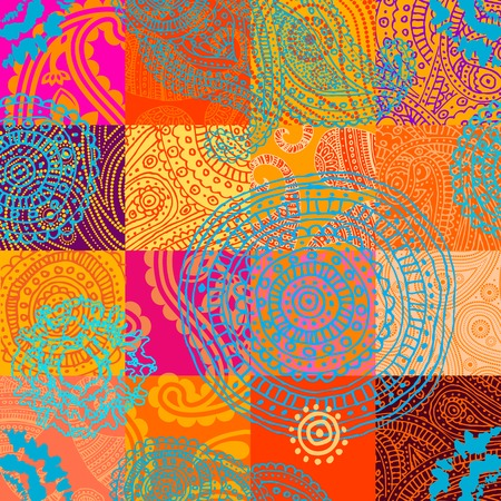 endlessly: Seamless background pattern. Will tile endlessly. Orange patchwork with ornament Illustration
