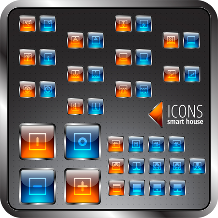 able: Icons set. Different signs able to turn on and off. May be used fo Smart house system. Illustration