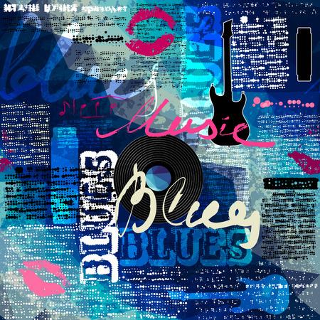 oude krant: Naadloos patroon als achtergrond. Grunge blauwe krant met originele inscripties Blues en muziek en gitaar silhouet.