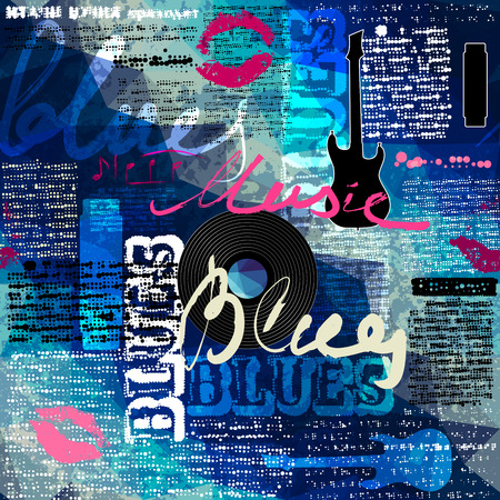 the blues: Seamless background pattern. Grunge blue newspaper with original inscriptions Blues and music and guitar silhouette.