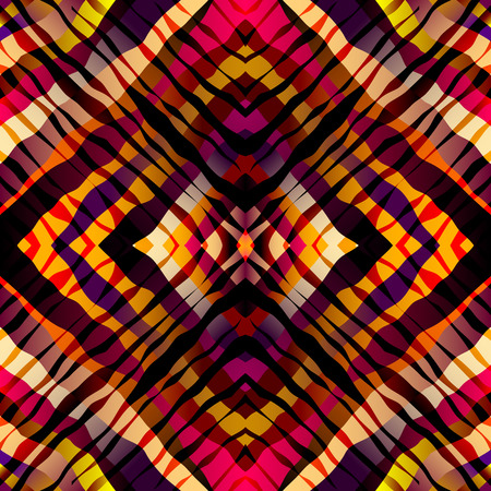 continuity: Seamless background pattern. Symmetric exotic pattern with red strips.