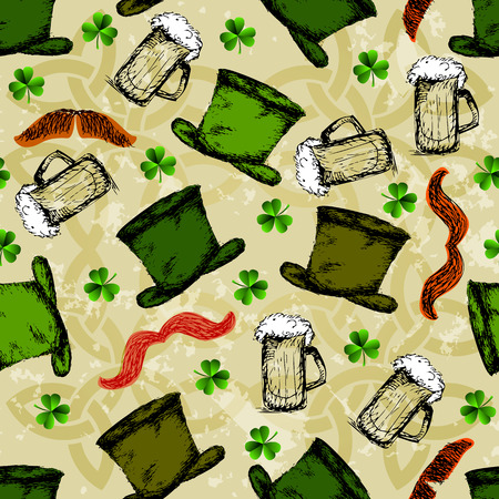 red clover: St. Patricks day background with clover and red moustache. Seamless doodles pattern. Illustration