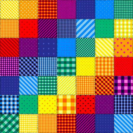 Seamless background pattern. Patchwork pattern of rainbow colors. 矢量图像