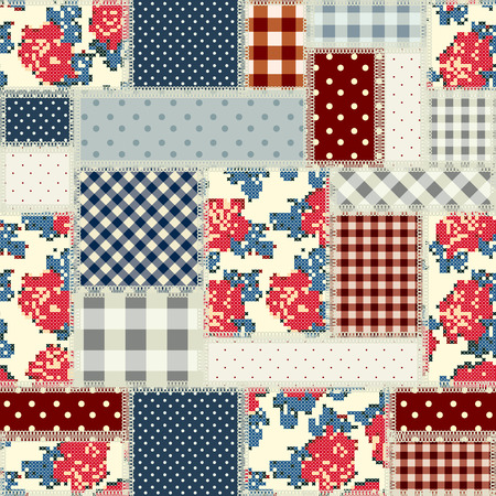 country style: Seamless background pattern. Patchwork in country style.