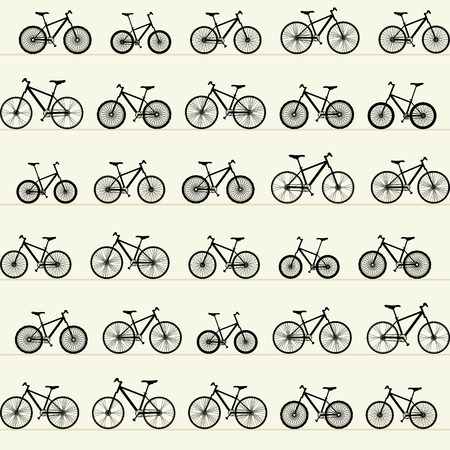 locomotion: Pattern rows of bicycles. Illustration