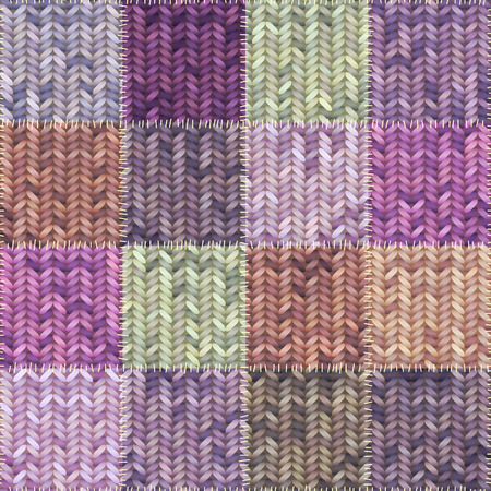 patches: Seamless background pattern. Patchwork of knitted patches.