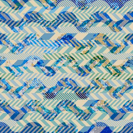 Naadloos patroon als achtergrond. Lappendeken van striked patches en grunge golven.
