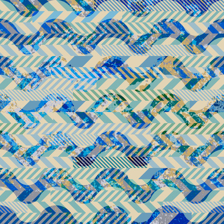 Seamless background pattern. Patchwork of striked patches and grunge waves.