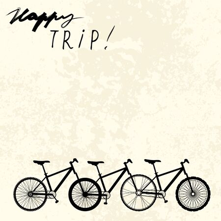 locomotion: Grunge background with unusual bicycle and inscription happy trip. Illustration