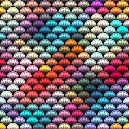 squama: Seamless background pattern. Mosaic of squama elements with ornament. Illustration