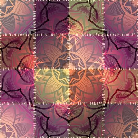 Seamless pattern of mandala symbol on patchwork background. Vectores