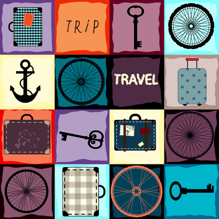 Seamless background pattern. Travel background with wheels and suitcases. Vector