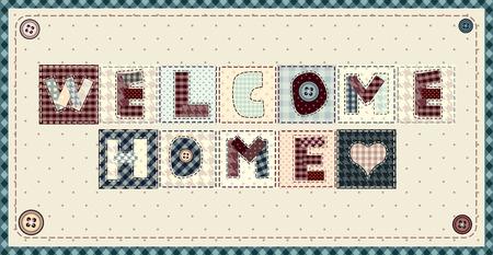 acogida: Inscripci�n Welcome Home en estilo mosaico en el fondo horizontal. Vectores