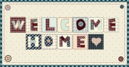 welcome home: Inscription Welcome Home in patchwork style on horizontal background.