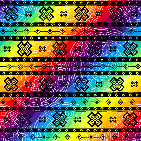 raibow: Seamless background pattern. Tribal geometric ornament on raibow colors background.