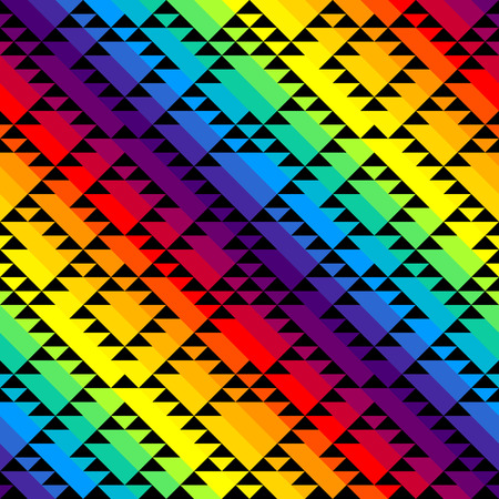 Seamless geometric pattern of black triangles on diagonal rainbow background.