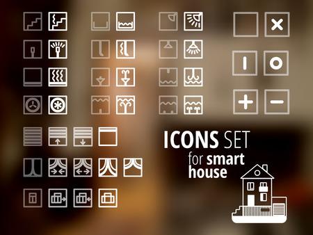 Iconos conjunto. Diferentes signos capaces de encender y apagar. Puede utilizarse fo sistema de la casa inteligente. Ilustración de vector