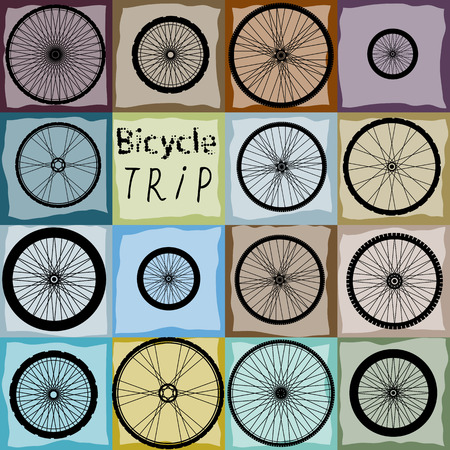 Seamless background pattern. Pattern of bycicles wheels. Vector