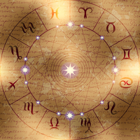 Magic circle of zodiac signs on manuscript background. Manuscript background may be used as seamless pattern. Çizim