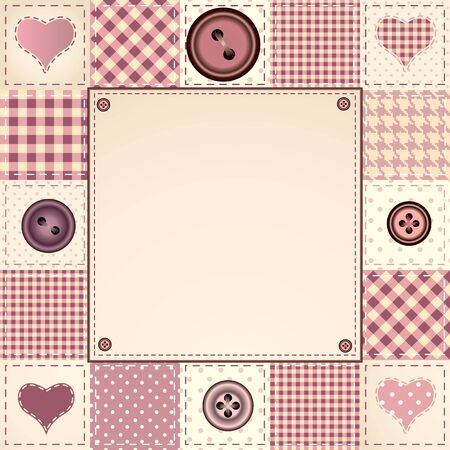 bordered: Bordered Background in patchwork style with buttons.