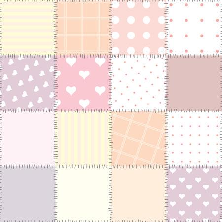 endlessly: Seamless background pattern. Will tile endlessly. Pink patchwork Illustration