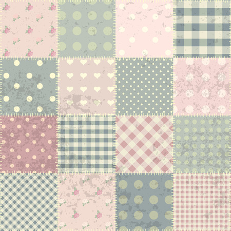 Seamless background pattern. Patchwork in style Shabby chic with grunge elements