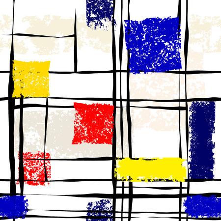 mondrian: Seamless background pattern. Grunge imitation of Mondrian painting Illustration