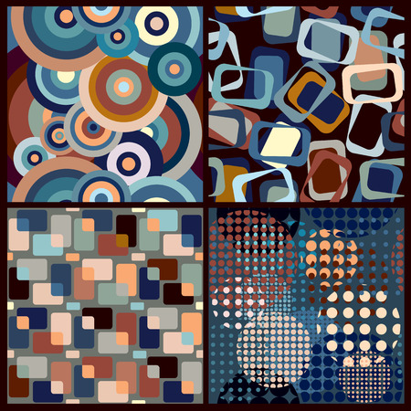 Set of four retro geometric seamless patterns.  イラスト・ベクター素材