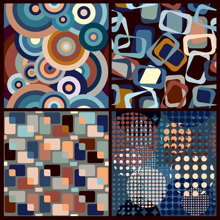 Set of four retro geometric seamless patterns. 일러스트