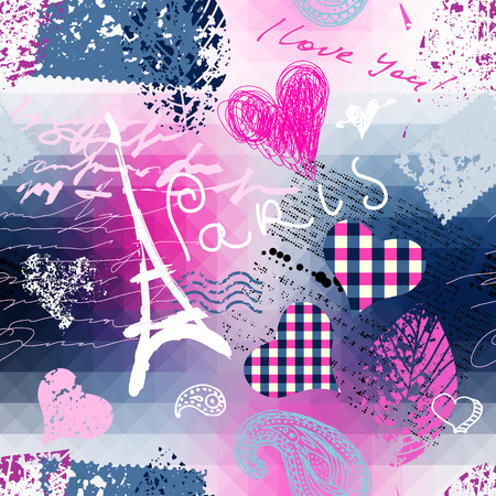 nostalgy: Seamless background pattern. Collage Paris with bright pink color