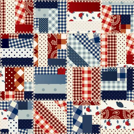Naadloze patchwork patroon in landelijke stijl. Stock Illustratie