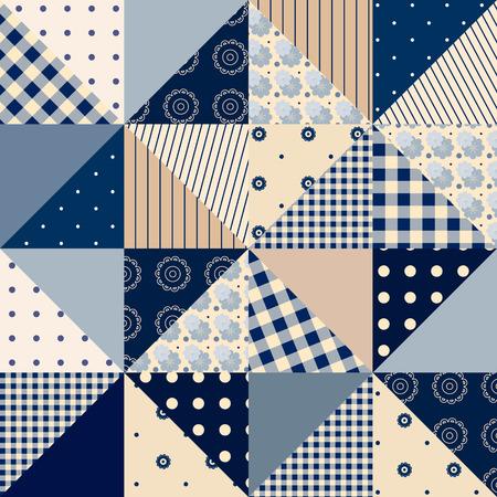 Naadloze lappendeken van driehoeken in landelijke stijl